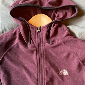 The north face zip up sweater hooded XS purple